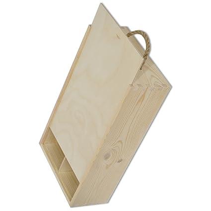 Creative Deco Caja Madera Vino | Tapa Deslizante y Mango | 2 Botella | 35 x