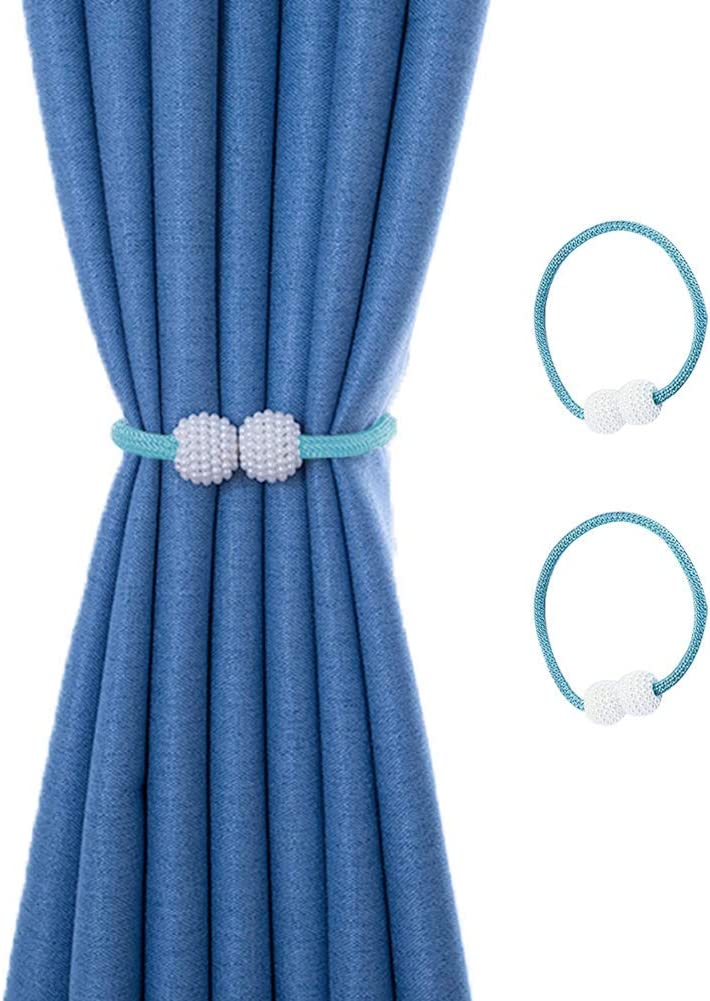 Yancorp Curtain Tiebacks 2 Pack Holdbacks Buckle Clips Window Décor Teal Gray Pink White Blue for Home Office