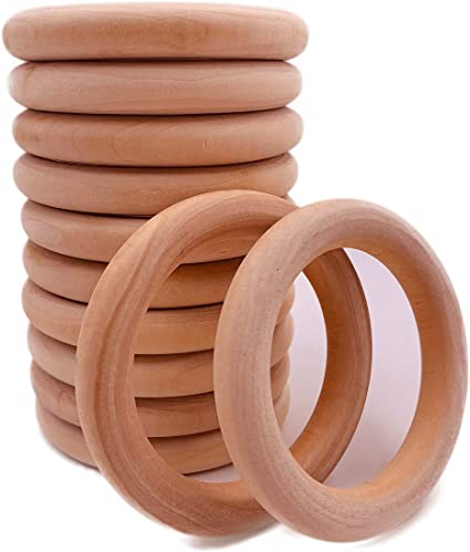 5 Size DIY Connectors 50Pcs Unfinished Natural Wooden Rings Wood Teething Rings for Craft Jewelry Making Ring Pendant