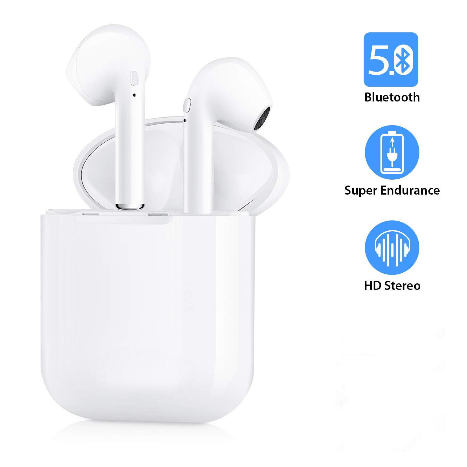 Bluetooth Headphones V5.0 in-Ear Headphones with Portable Power Box, Super Stereo Bluetooth in-Ear Headphones Compatible with All Smart Devices
