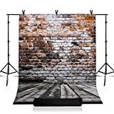 Julius Studio Photo Studio 7.5 x 10 ft. Adjustable Background Support Stand, Backdrop Support System Kit with 5 x 10 ft. Wood Floor Brick Wall Backdrop, JSAG362