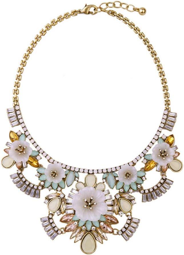 mzq Regalo de Lady Lady de Collar de Flor de Piedras Preciosas con Diamantes de imitación