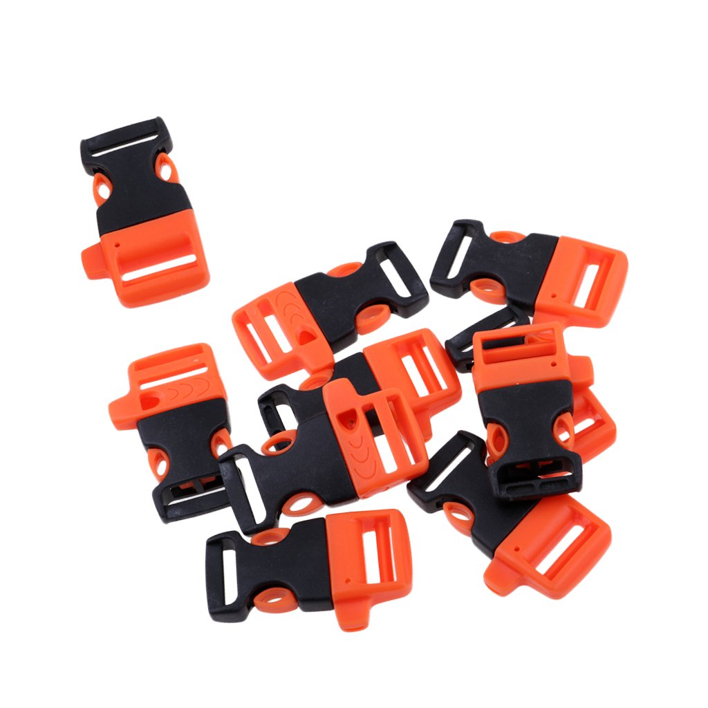 Baoblaze 10pcs Release Whistle Buckle Prarchute Cord Paracord Bracelet Buckle Webbing Strap Belt Clip Outdoor Camping Backpack Accessories