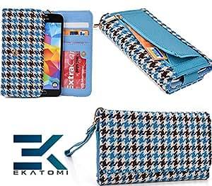 Blu Vivo 4.65 HD D920 Clutch Wallet Cover Phone Case LIGHT BLUE|BLACK *BONUS Ekatomi Screen Cleaner