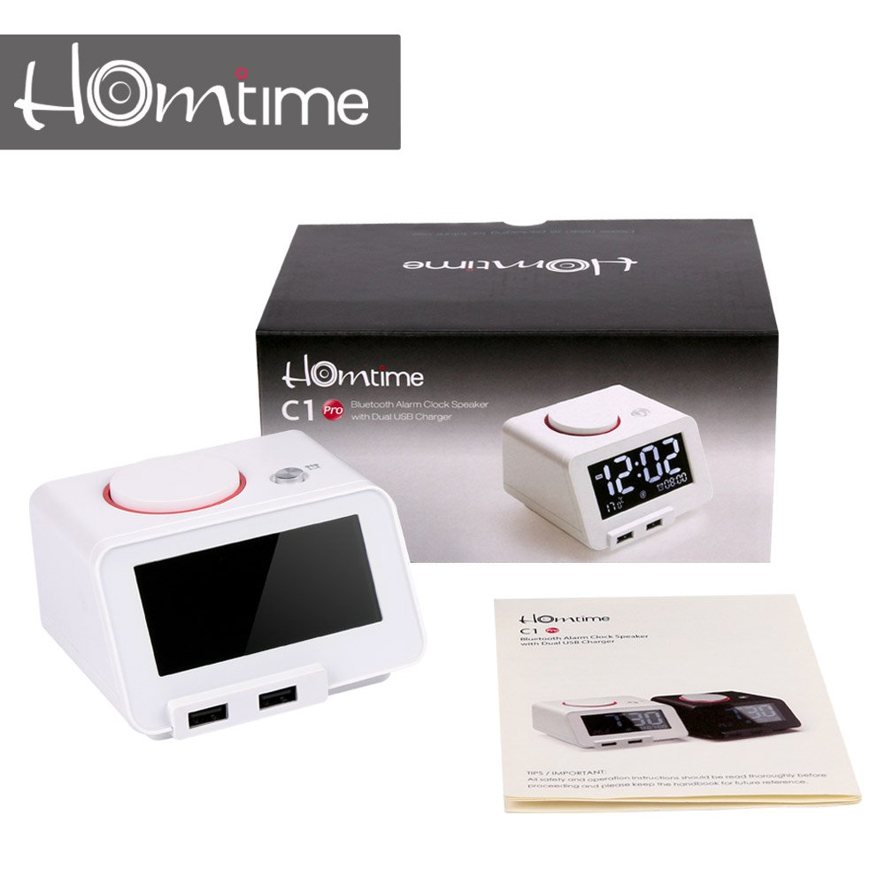 Homtime C1PRO Bedside Alarm Clock with USB Charger and Bluetooth Speaker for Heavy Sleeper, Dimmable, Temperature, Backup Battery for Time, White