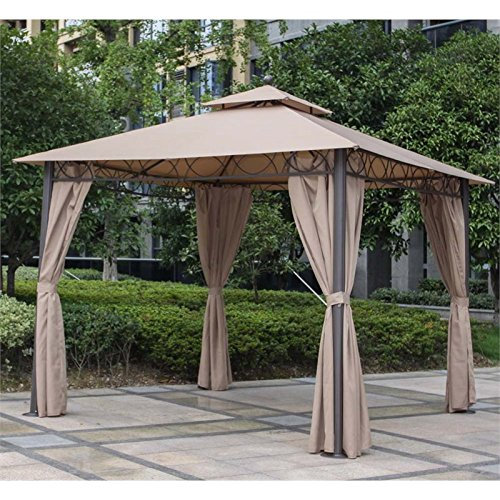Pemberly Row Square Gazebo with Drapes in Khaki