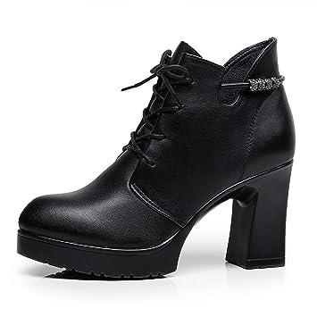 YAN Zapatos de tacón Alto para Mujer Otoño Invierno Botines de Moda Otoño Invierno Tacones Altos áspero Británicos Lace Up Martin Boots Negro: Amazon.es: ...