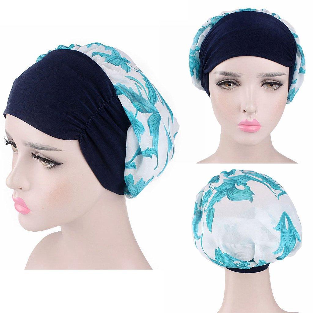 Dabixx Women Chemo Hat Turban Cancer Headscarf Wrap Long Hair Pretied Bandana Beanie Navy