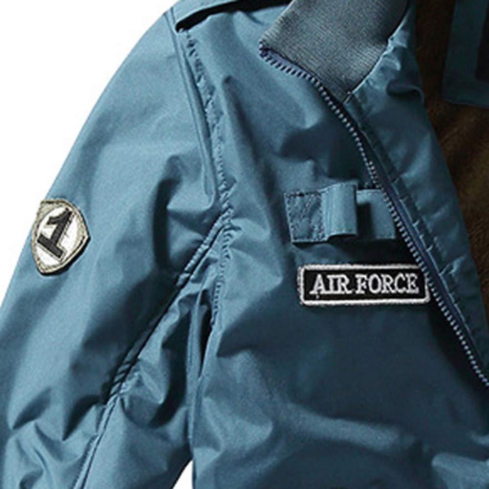 Men  S Winter Giacca Casual Stand Colletto Militare Abbigliamento Giacche di Pile Cerniera Cappotto Ispessito Yesmile