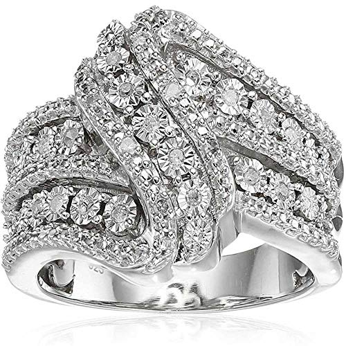 XAHH White Gold Infinity Knot Curve Round Cut CZ Fine Promise Ring Engagement Wedding Band for Bridal Size ()