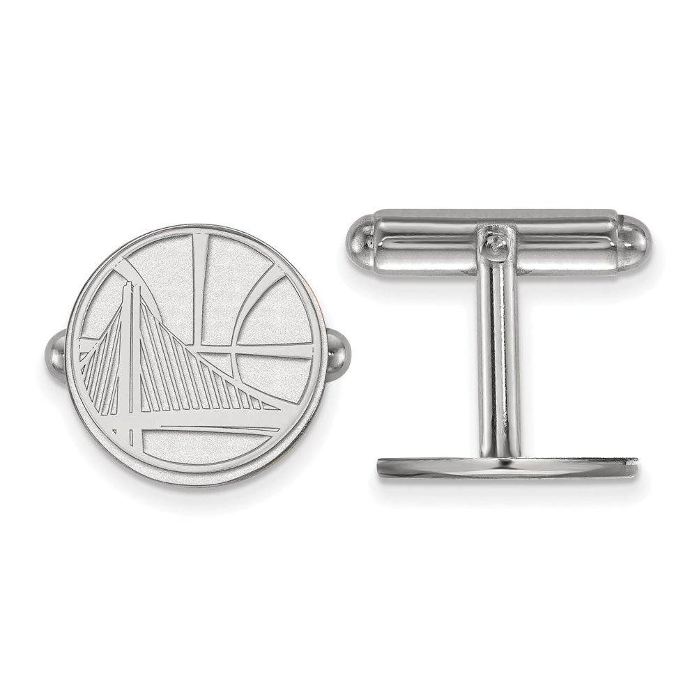 LogoArt NBA Golden State Warriors Cuff Links in Rhodium Plated Sterling Silver