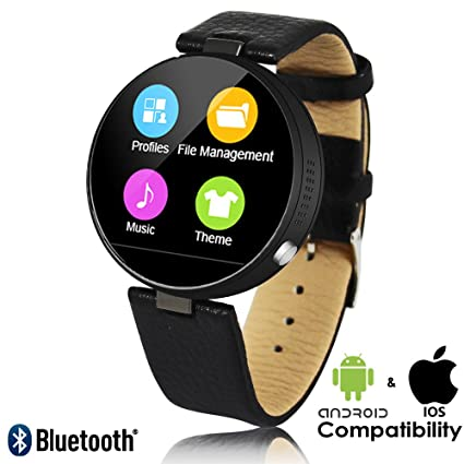 Indigi® Bluetooth sincronización inteligente reloj de pulsera compatible con iPhone y Android + corazón tasa