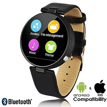 Indigi® Bluetooth sincronización inteligente reloj de pulsera compatible con iPhone y Android + corazón tasa