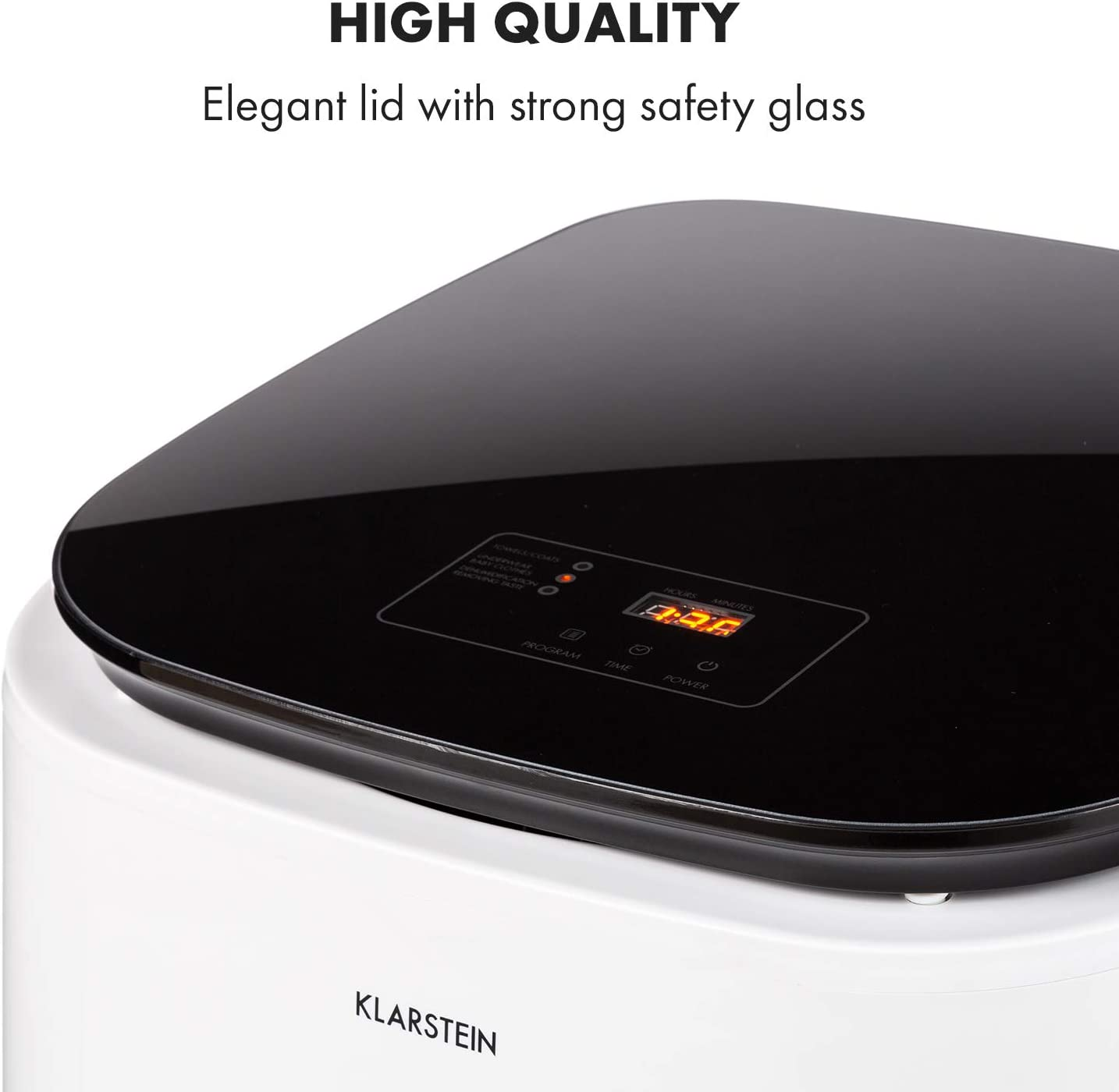 Stainless Steel Drum Touch Control Panel LED Display Safety Glass Lid Plastic Housing Klarstein Zap Dry Tumble Dryer 820 W Capacity: 50 L UniqueDry Design Small Footprint White//Black
