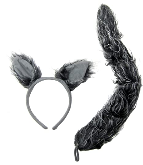 j24630 wolf ears tail set gray one size