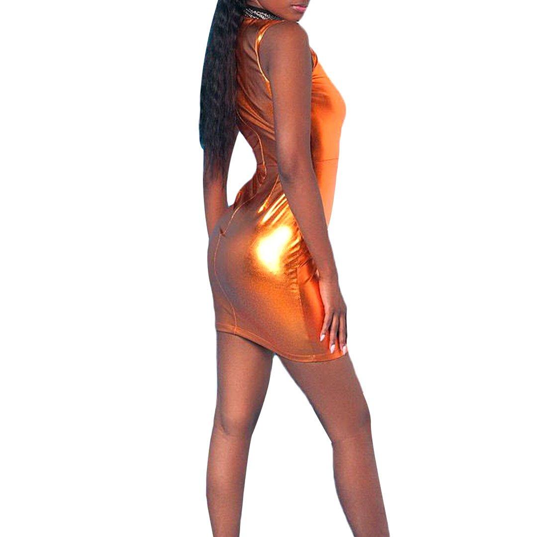72d7971d50d Amazon.com  Novia s Choice Women Liquid Metallic Wetlook Skirt Sexy Bodycon  Clubwear Mini Dress Party Costume Skirt(Orange L)  Clothing