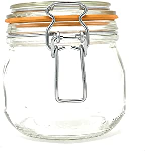 (9 Pack) 16 oz, Pint, 500 ml, Glass French Canning Jars with Stainless Steel Wire Bail. Airtight Jar. Hinged lids. Great for Canning, Food Storage, Spices, Herbs, Candles, Gifts, Candy and Bath Salts