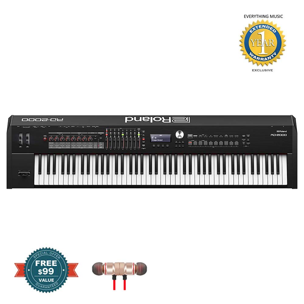 Roland RD-2000 88-Key Digital Stage Piano includes Free Wireless Earbuds - Stereo Bluetooth In-ear and 1 Year Everything Music Extended Warranty by Roland