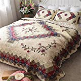 Jameswish Exquisite Embroidery 3-Piece Quilt Sets Classic Elegant Style 100% Cotton Patchwork Bedspread Reversible Patchwork Washed Comforter Sets Including 1Quilt 2Pillowshames King Queen Size