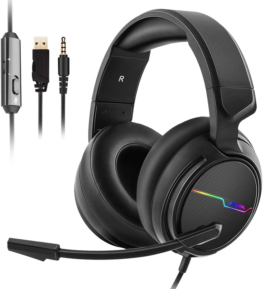 Jeecoo Stereo Gaming Headset for PS4, Xbox One S - Noise Cancelling Over Ear Headphones with Microphone - LED Light Soft Earmuffs Bass Surround Compatible with Xbox One PC Laptop Switch Games