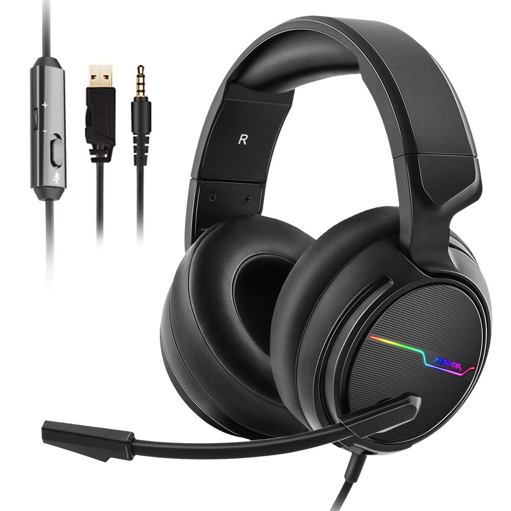 Jeecoo Stereo Gaming Headset for PS4, Xbox One S - Noise Cancelling Over Ear Headphones with Microphone - LED Light Soft Earmuffs Bass Surround Compatible with Xbox One PC Laptop Nintendo Switch Games by Jeecoo