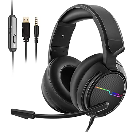 ad79a33d309 Jeecoo Stereo Gaming Headset for PS4, Xbox One S - Noise Cancelling Over  Ear Headphones with Microphone - LED Light Soft Earmuffs Bass Surround  Compatible ...