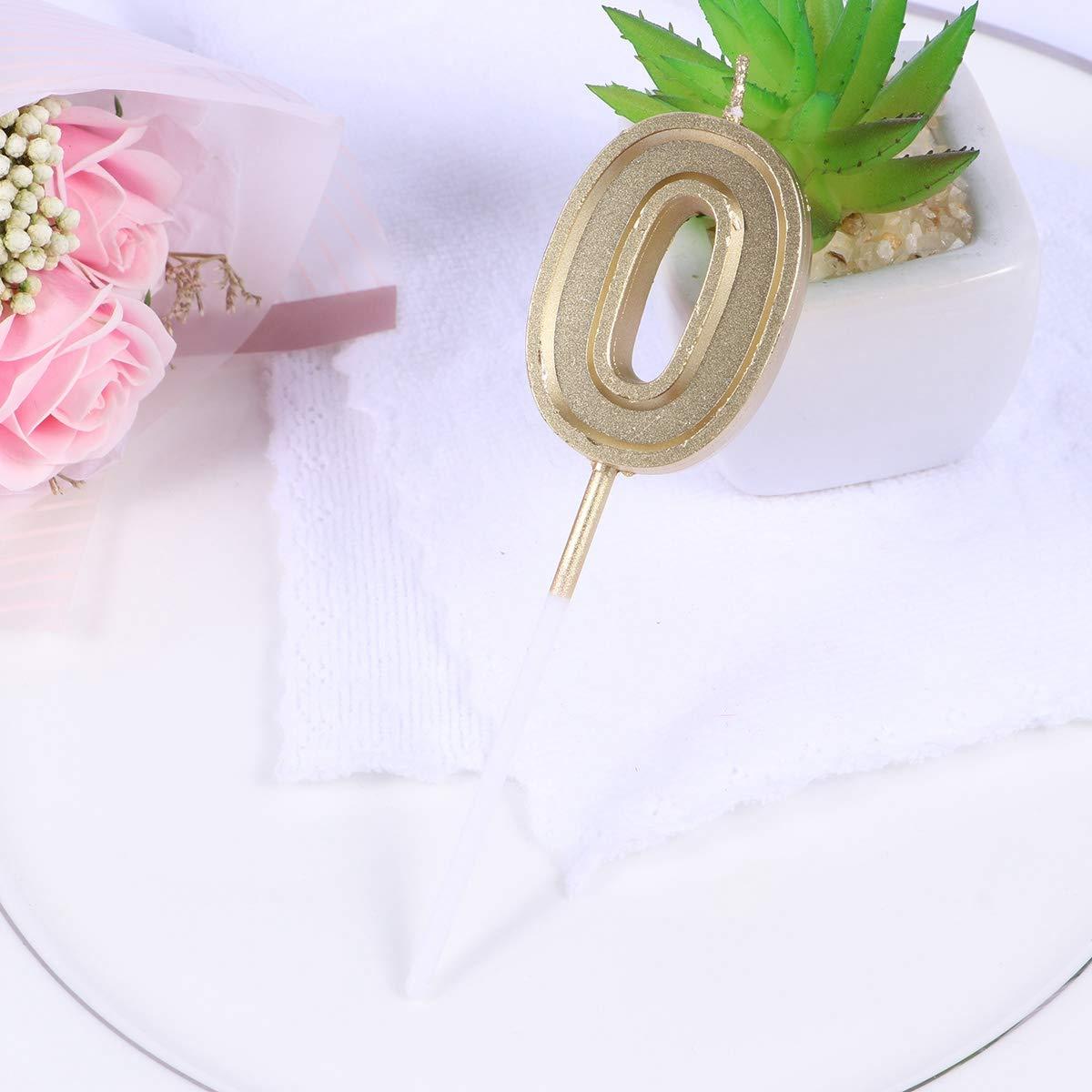 Toyvian N/úmero 0 Vela Oro Brillo cumplea/ños n/úmero Velas Pastel Adorno decoraci/ón