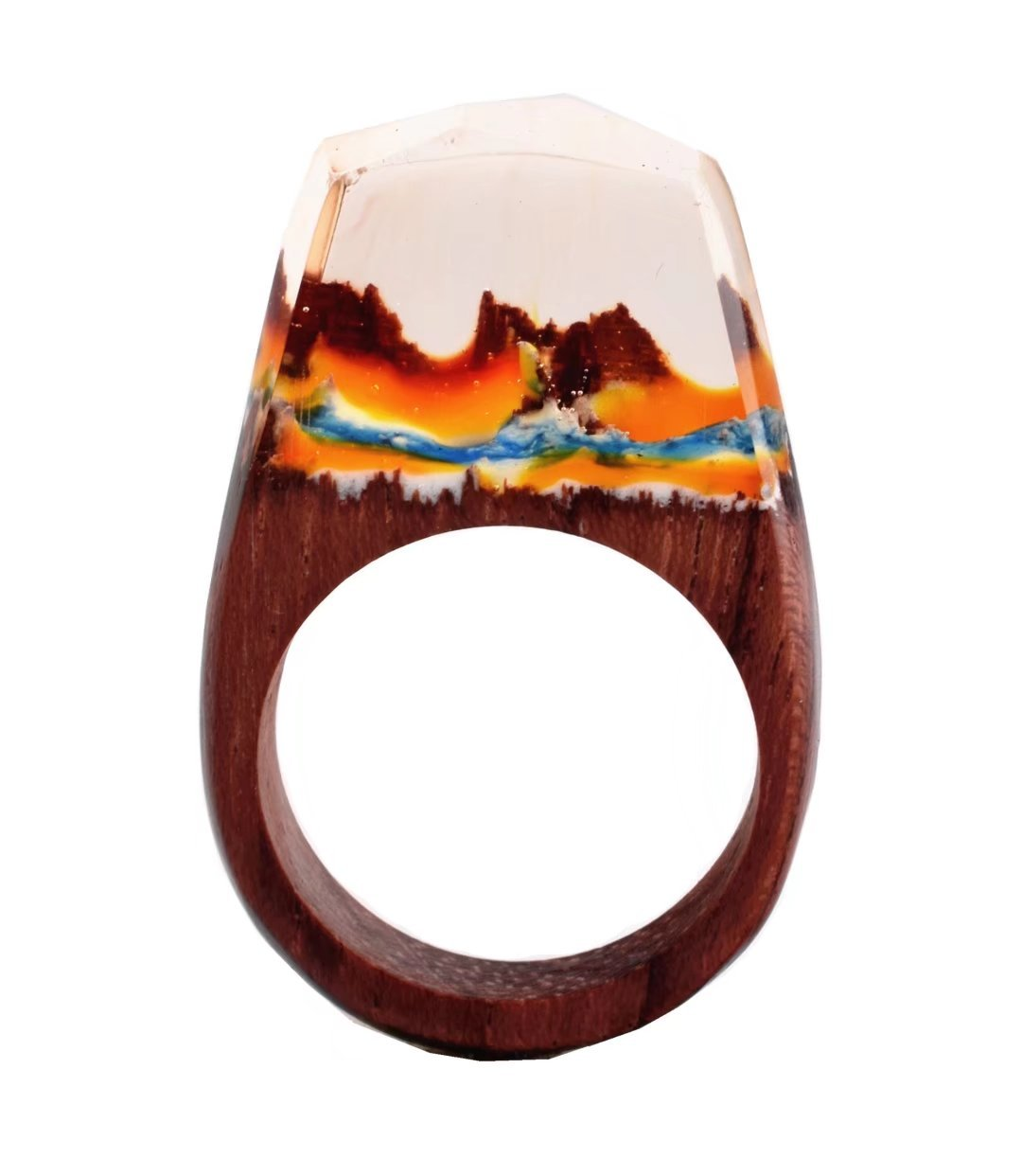 Heyou Love Handmade Wood Resin Ring With Volcano Scenery Landscape Inside Jewelry