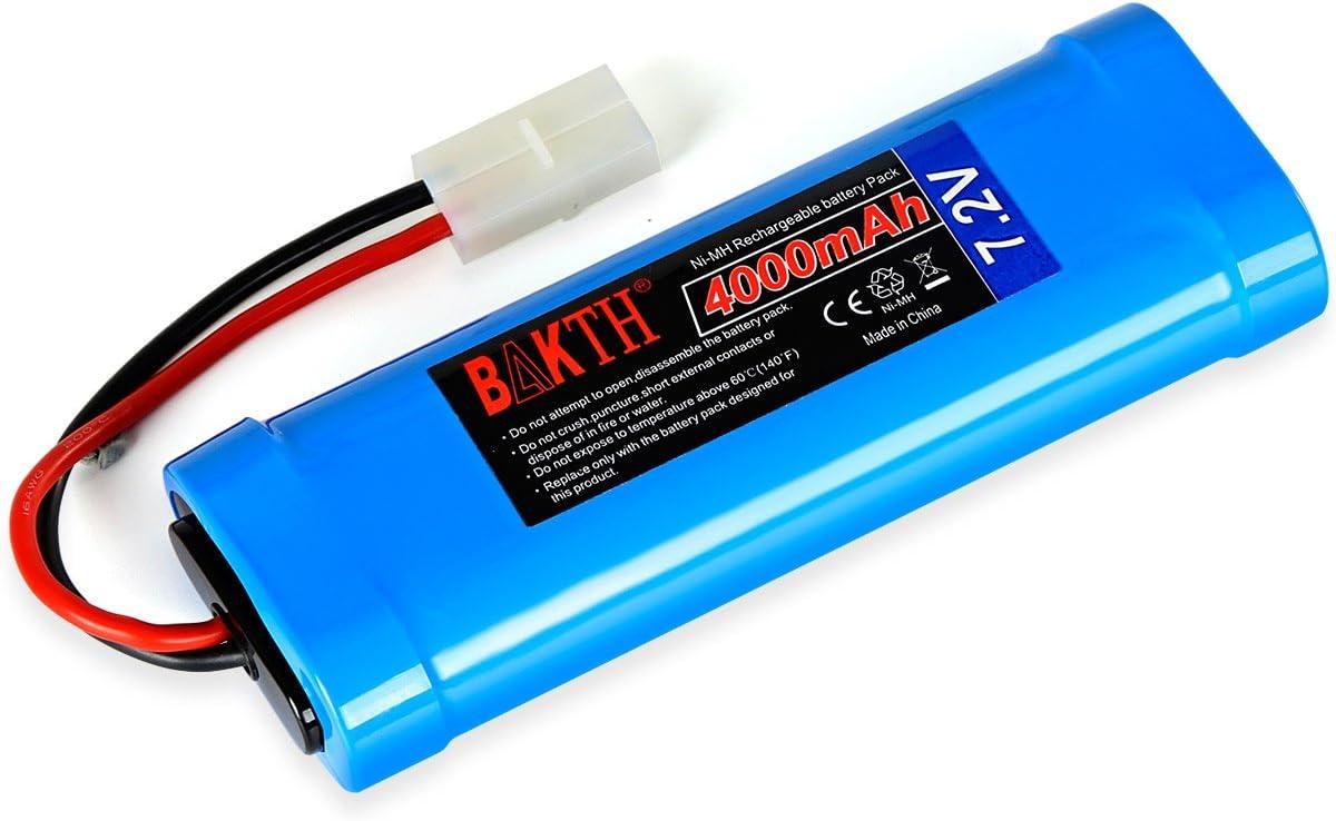 BAKTH 7.2V 4000mAh NiMH RC Paquete de Carreras de baterías para Modelos de Coches, Aviones, Robots (Juguetes), batería de Alto Rendimiento RC + Posavasos como Regalo