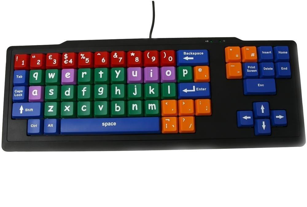 Teclado de Aprendizaje para Niños USB / Teclas Grandes Multicolores en Minúsculas / Preescolar Clave Etapa 1 / QWERTY Plug & Play / Compatible con Windows y ...