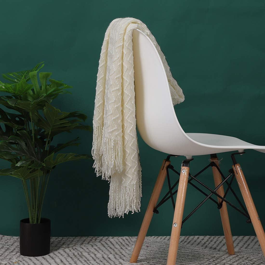 canap/é lit PiccoCasa Couverture en tricot 100/% acrylique Motif vague Douce L/ég/ère Couverture Tricot/ée D/écorative avec franges pour canap/é 50 x 60 cm voyage Beige