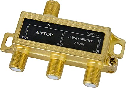 3 Way TV Signal Splitter,ANTOP Digital Coax Cable Splitter 2GHz 5-2050MHz High Performance for Satellite//Cable TV Antenna