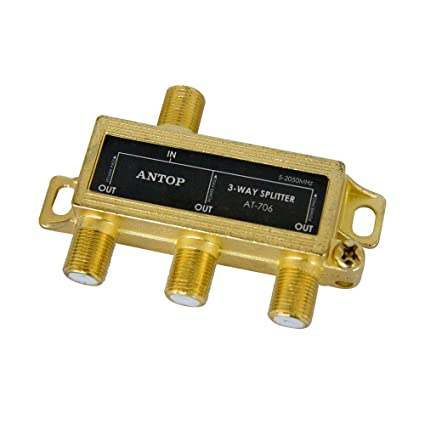 3-Way ANTOP Signal Splitter for TV and Satellite, 18K Gold-plated chassis