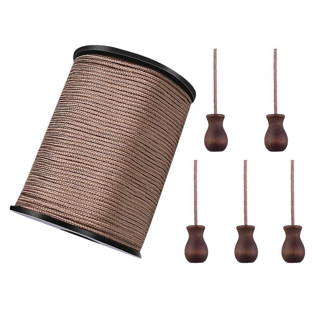 WXJ13 Un rollo 50 yardas marró n trenzado Nylon Lift Shade Cable con 5 Pomos de Cuerda de Madera Marró n 1, 8 mm