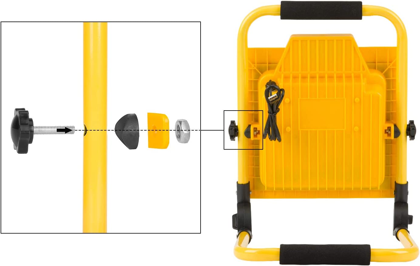 Akku LED Baustrahler Arbeitsleuchte Tragbar 1065 Lm IP65 6500K Tageslichtwei/ß USB Ausgang-Ports 60W LED Strahler