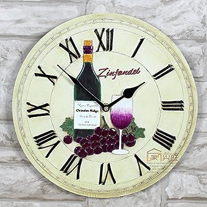 Reloj De Pared De Estilo Europeo Reloj Restaurante Creativo Jardín Vino Viento Artesanías De Resina De