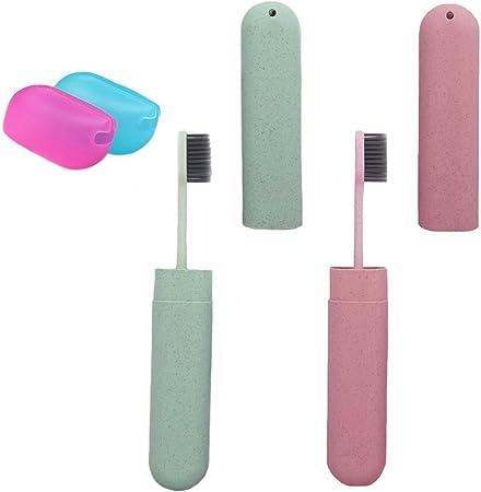 Abaría – 4 unidades portátil estuche con cepillo dientes y silicona funda pare cepillo dientes, rosa y verde: Amazon.es: Hogar