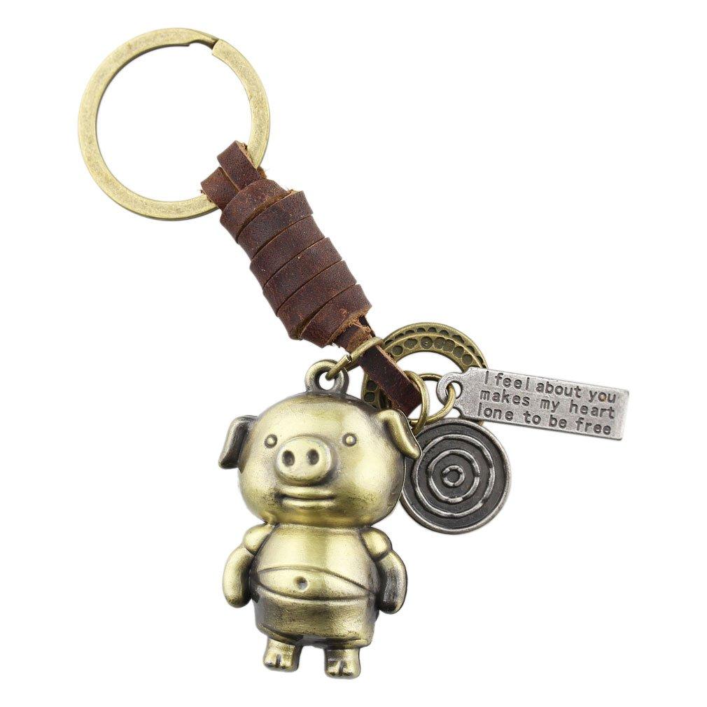 FOY-MALL Vintage Pig Bronzy Alloy Women Men Keychain for Gift T1028
