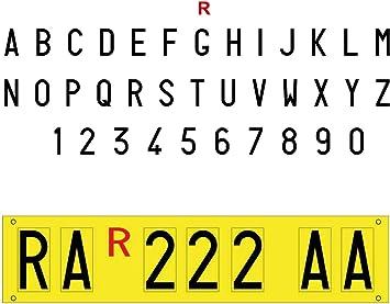 Serie completa de letras adhesivas para placa de matrícula duplicada de remolques, caravanas o automóviles: Amazon.es: Coche y moto