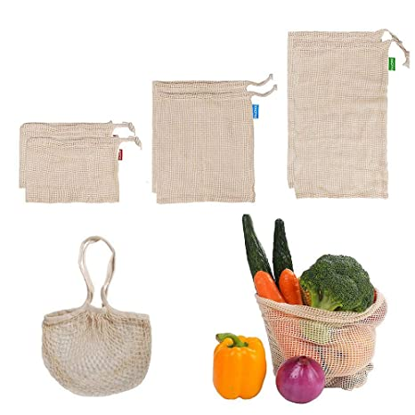 Bolsas de vegetales reutilizables de algodón,bolsas de ...