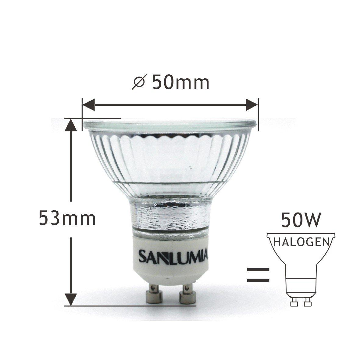 Sanlumia Bombillas LED GU10, 5W=50W Halógena, 450Lm, Blanco Frío (6400K), 120 ° ángulo de haz, Iluminación de Techo para Cocina, Oficina, o Baño, ...