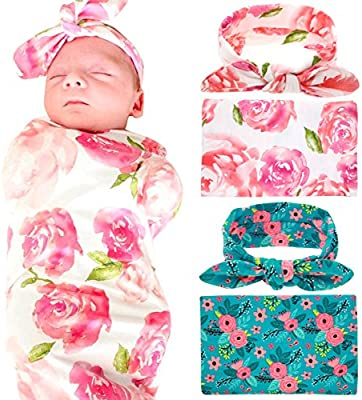 5340b6d4d Newborn Baby Swaddle Blanket and Headband Value Set,Receiving Blankets(  2pc-Pink and Blue )