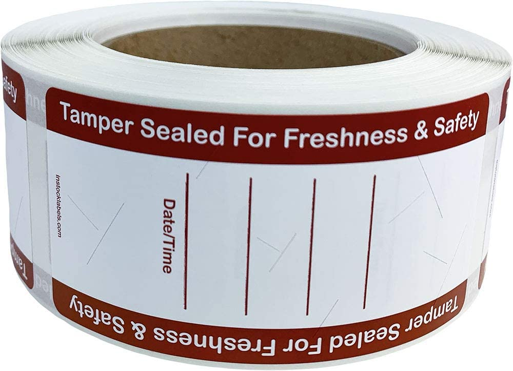 Food Delivery Tamper Evident Labels with Writable Date and Time 2 x 4 Inch 500 Total Adhesive Stickers