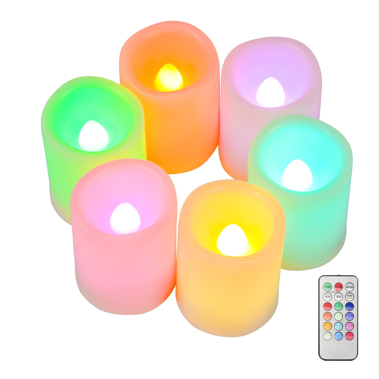 Kohree Set of 6 Flameless LED Color Changing Votive Candles with Remote and Timer, Battery-Included, Melted Edge, Multiple Colors HP101
