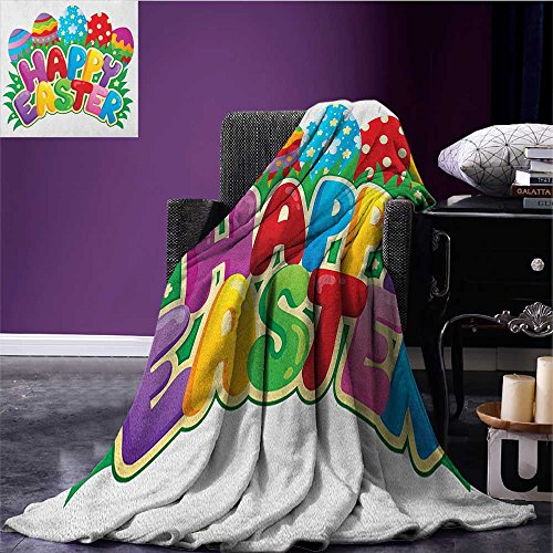 Easter Printed Blanket Cartoon Style Ornamental Eggs with Polka Dots Flowers and Stripes Happy Easter Quote Minion Blanket Multicolor Size:59