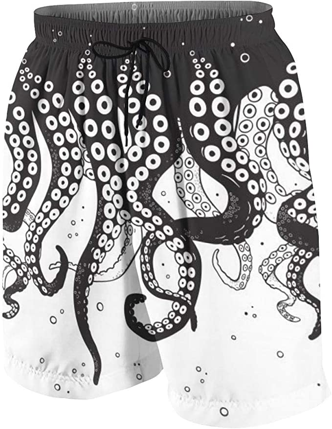 Mens Quick Dry Summer Beach Board Shorts Colorful Octopus