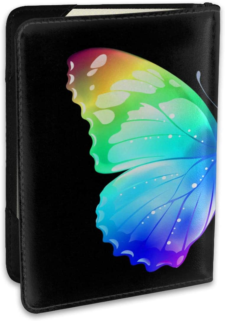 Girl Butterfly Colorful Leather Passport Holder Cover Case Travel One Pocket