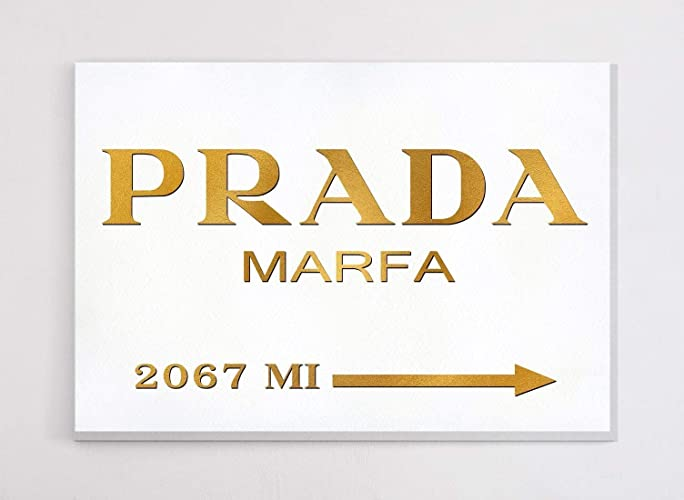 36b0dcda910e6 Fashion wall pop art print - Illustration - Prada Marfa with Gold - Chic  Glam Vogue poster on Canvas 20