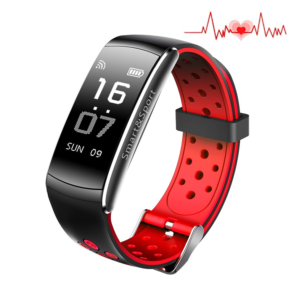 Huangchao Inc Fitness Tracker, Smart Watch 4 sports Mode, Heart Rate Monitor IP68 Waterproof Activity Health Tracker, Sleep & Blood Pressure Oxygen Monitor, Calorie/Step Counter for IOS Android