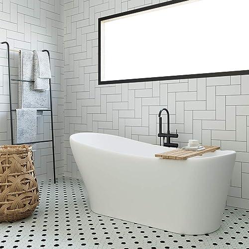 ARIEL 67″ Acrylic Freestanding Bathtub Classic Oval Design Contemporary Soaking Tub